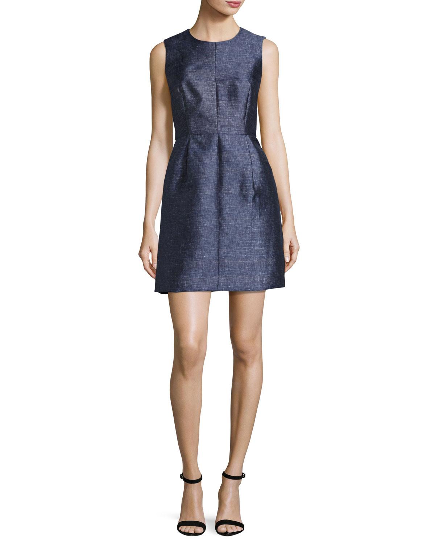 819a4cfeeb Milly Coco Sleeveless Denim-Print Twill Dress