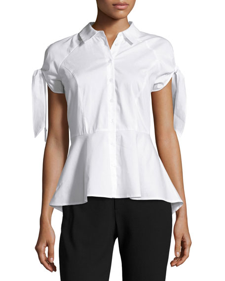 Marled by Reunited Cold-Shoulder Tie-Sleeve Peplum Shirt, White