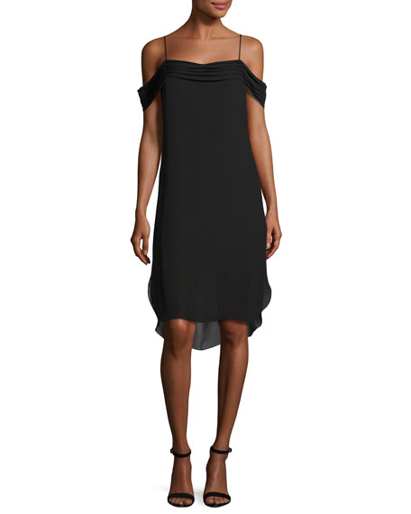 T by Alexander Wang Cold-Shoulder Silk Georgette Dress,