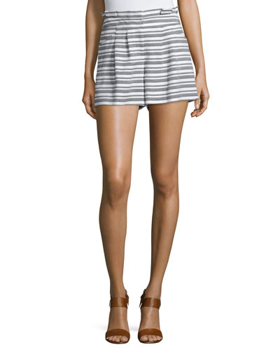 Wynwood Striped High-Waist Shorts, Black/White