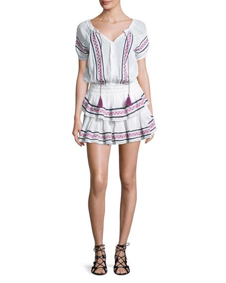 Loveshackfancy Poppy Baja Embroidery Cotton Mini Dress, White