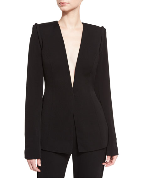 Brandon Maxwell Piped-Shoulder V-Neck Jacket, Black