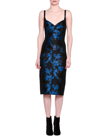 Stella McCartney Floral Brocade Bustier Dress, Black/Blue
