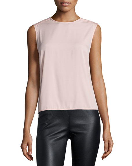 Halston Heritage Sleeveless Draped-Back Top, Sorbet