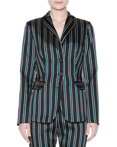 Striped Three-Button Jacket, Black/Sage
