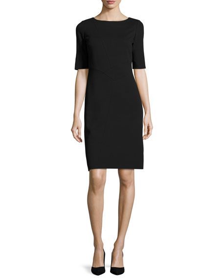 Asymmetric-Seamed Punto Milano Sheath Dress, Plus Size