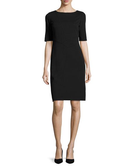 Asymmetric-Seamed Punto Milano Sheath Dress, Plus Size