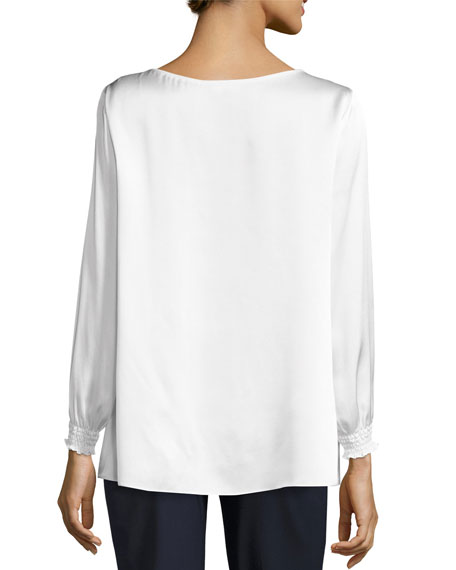 Marisole Long-Sleeve Bateau-Neck Silk Blouse, Ivory, Plus Size