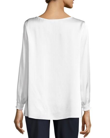 Marisole Long-Sleeve Bateau-Neck Silk Blouse, Ivory, Plus Size