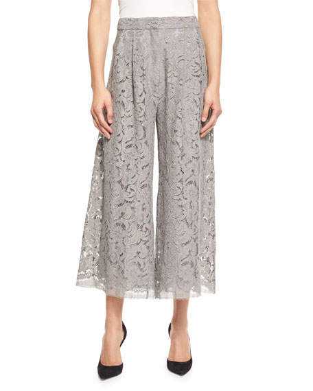 Adam Lippes Pleated Guipure-Lace Culotte Pants, Nickel