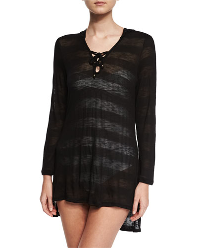 Afterglow Striped Hoodie Coverup Tunic, Black