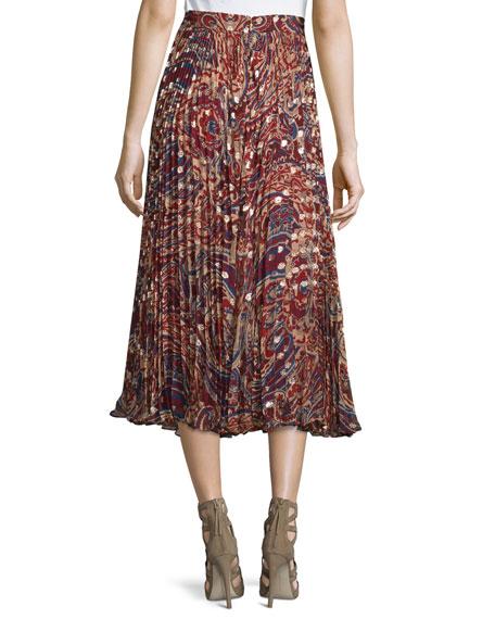 Silk Sunburst Flare Midi Skirt, Kennedy Metallic