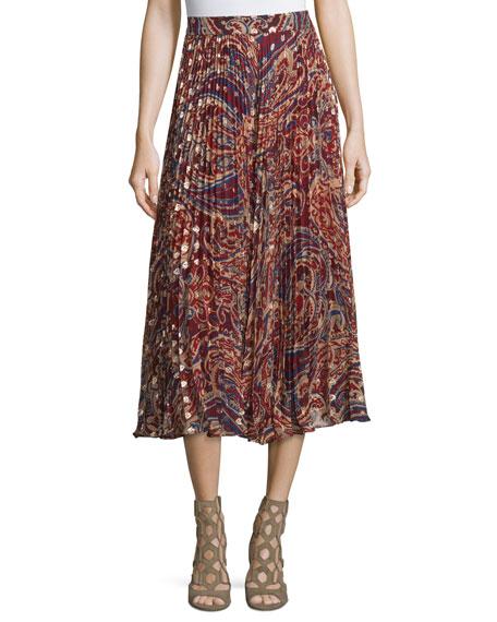 Haute Hippie Silk Sunburst Flare Midi Skirt, Kennedy