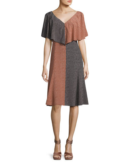 Derek Lam Bicolor Handkerchief-Top Silk Midi Dress, Orange/Black