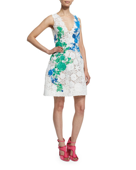 Sleeveless Lace Applique Party Dress, White