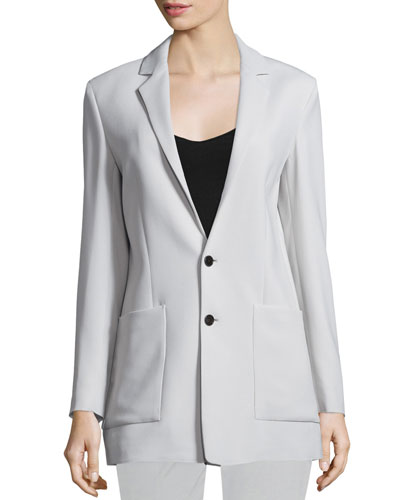 Crepe Oversize Two-Button Blazer, Putty