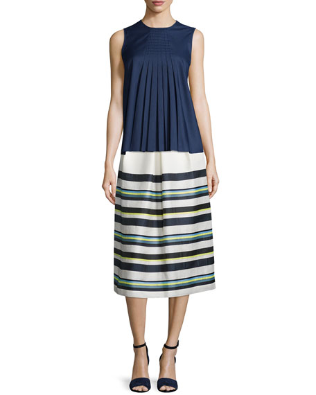 Pleated-Front Striped Skirt, Cream/Multi