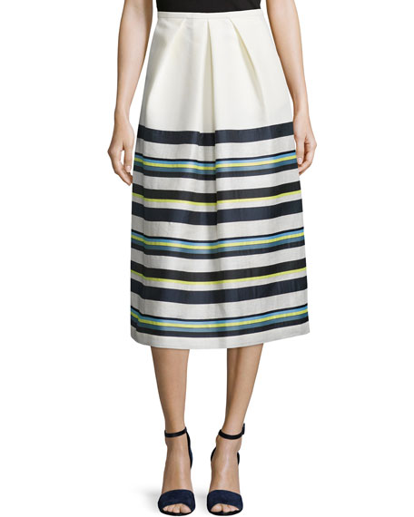 Jil Sander Navy Pleated-Front Striped Skirt, Cream/Multi