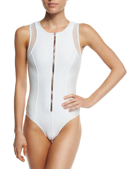 Afterglow Zip-Front Mesh-Trim One-Piece Swimsuit