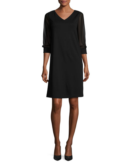 Lafayette 148 New York Sheer 3/4-Sleeve V-Neck Punto