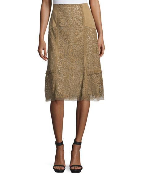 Kobi Halperin Daphne Laser-Cut Leather Skirt, Sandstone
