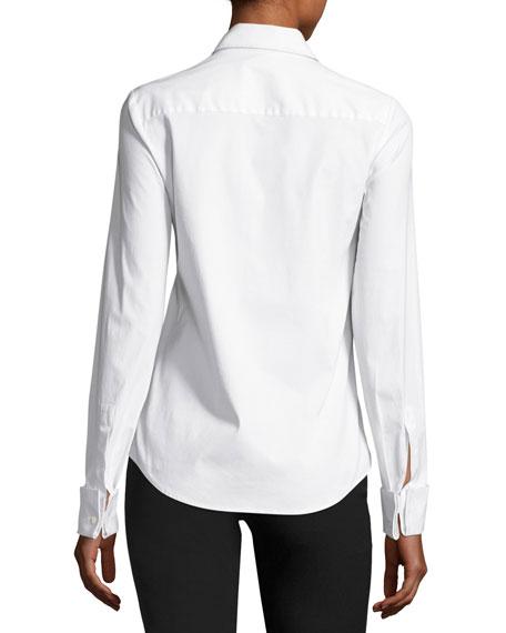 Stretch-Poplin Button-Front Blouse, White
