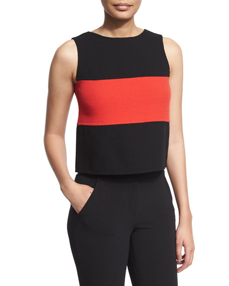 Sleeveless Two-Tone Blouse, Black/Flame