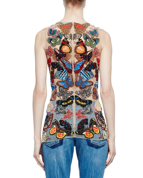Sleeveless Embroidered-Butterfly Mesh Top, Flesh Mix