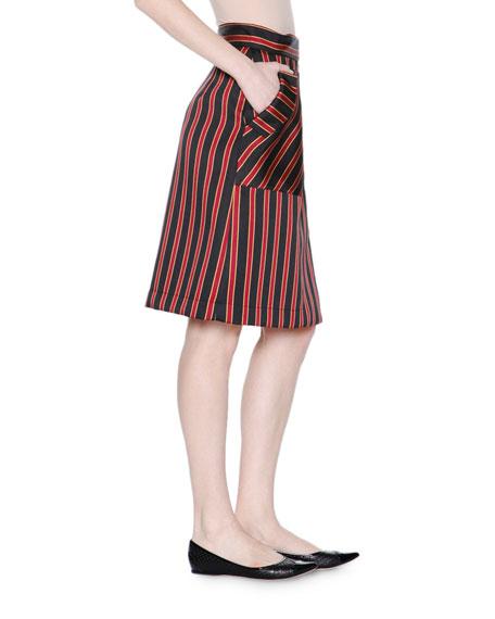 tomas maier high waist striped a line skirt black raspberry