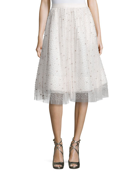 Alice + Olivia Catrina Embellished A-Line Skirt, Cream