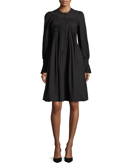 Long-Sleeve Pleated Shirtdress, Black