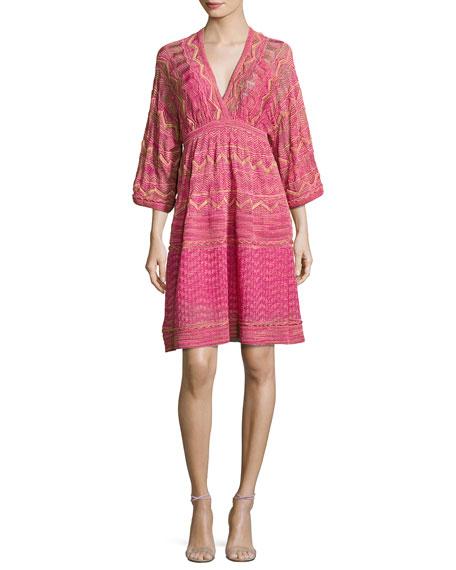 M Missoni 3/4-Sleeve Lurex Zigzag Dress, Pink
