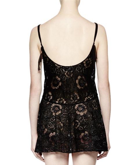 Sleeveless Lace Mini Dress, Black