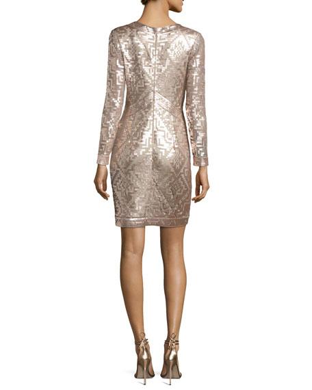 Long-Sleeve Sequin Grid Sheath Dress, Ginseng/Natural