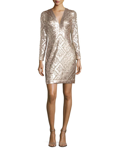 Long-Sleeve Sequin Grid Sheath Dress, Ginseng/Natural