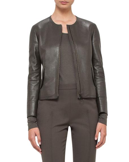 Akris punto Perforated Leather Peplum Jacket, Olive
