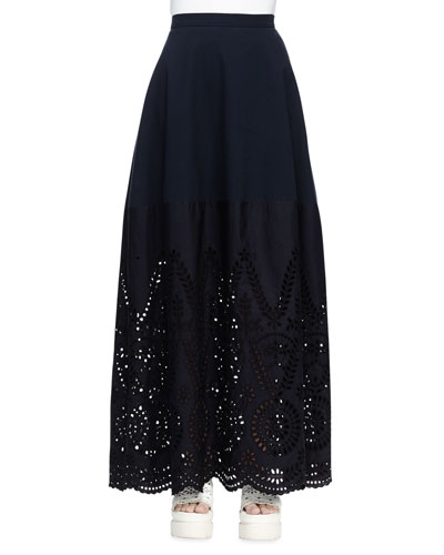 Broderie Anglaise Long Skirt, Navy
