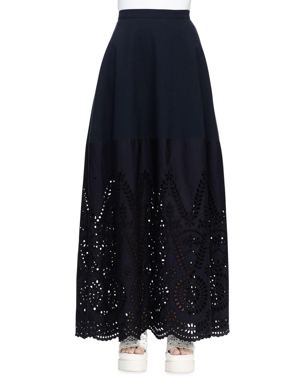 2d62e8f7a Stella McCartney Broderie Anglaise Long Skirt, Navy   Neiman Marcus