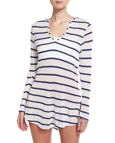 Striped Hoodie Coverup Tunic