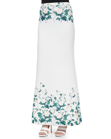 Erin Fetherston Long Floral-Printed Fluted Skirt