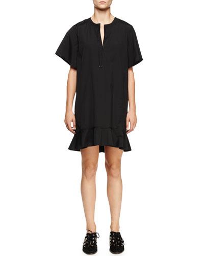 Short-Sleeve Peplum-Hem Dress, Black