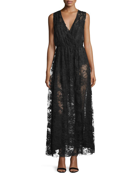 Adam Lippes Sleeveless V-Neck Chantilly Lace Gown, Black