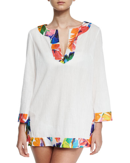 Crinkle Cotton Coverup Tunic w/Banana Leaf Trim