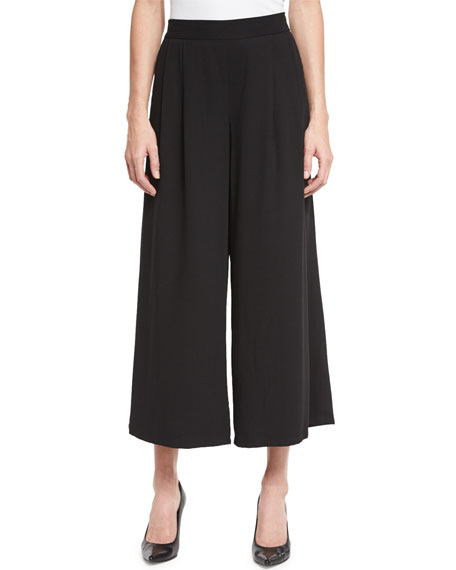 Eileen Fisher Woven Tencel?? Grain Wide-Leg Cropped Pants,