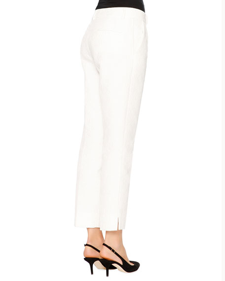 Flower-Jacquard Skinny Pants, White