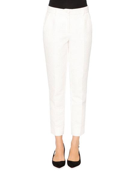 Dolce & Gabbana Flower-Jacquard Skinny Pants, White