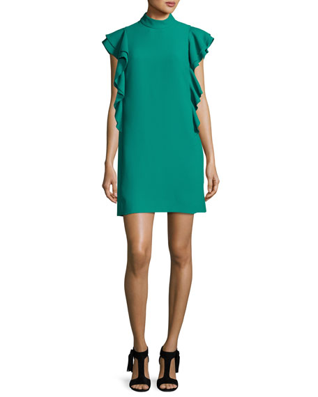 flutter-sleeve satin crepe shift dress, emerald