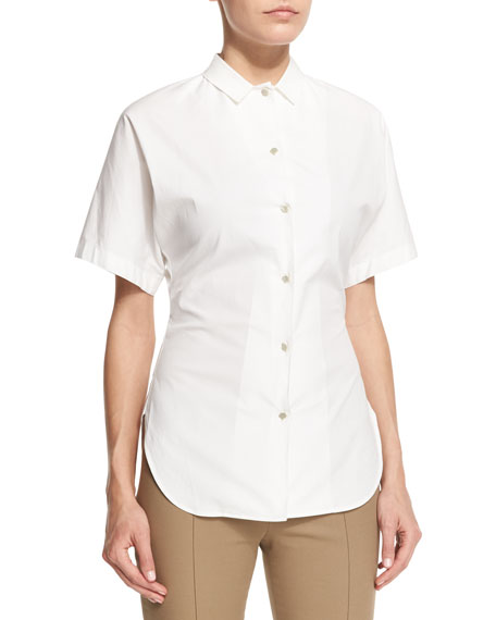 THE ROW Liko Short-Sleeve Button-Front Shirt, White
