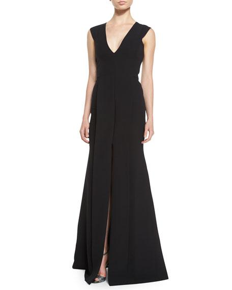 Victoria Beckham V-Neck Front-Seamed Gown