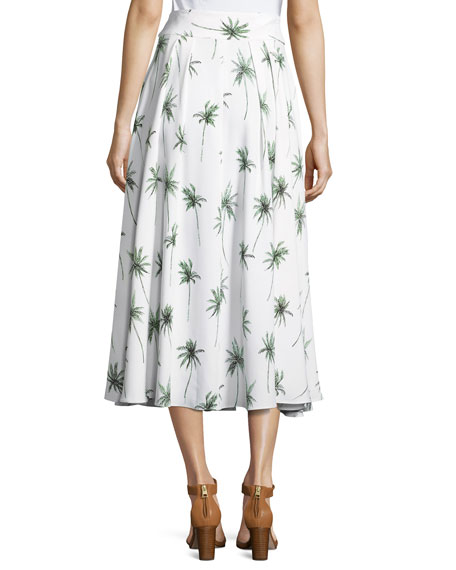 Palm Tree-Print Italian Cady Midi Skirt